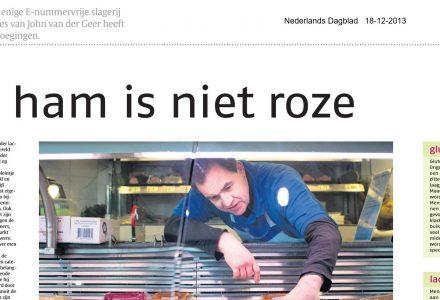Nederlands dagblad - Pure ham is niet roze 12-2013