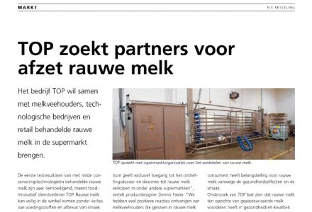 Zuivellicht - TOP zoekt partners voor afzet rauwe melk 12-2013